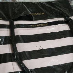 Victoria Secret striped tote nwt black & pink